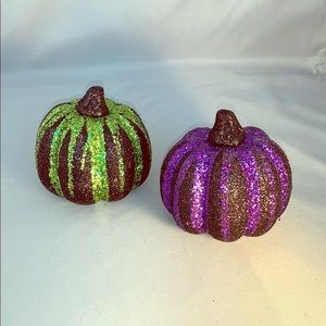 🎃 Pair of Neon Glitter Decorative Pumpkins